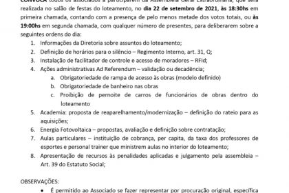 Assembleia Geral Extraordinária - 22/09/2021 - 18:30hs