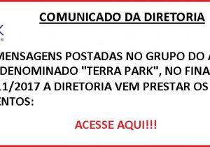 """Esclarecimentos da Diretoria em relação a mensagens no grupo do aplicativo WhatsApp, denominado """"Terra Park""""."""